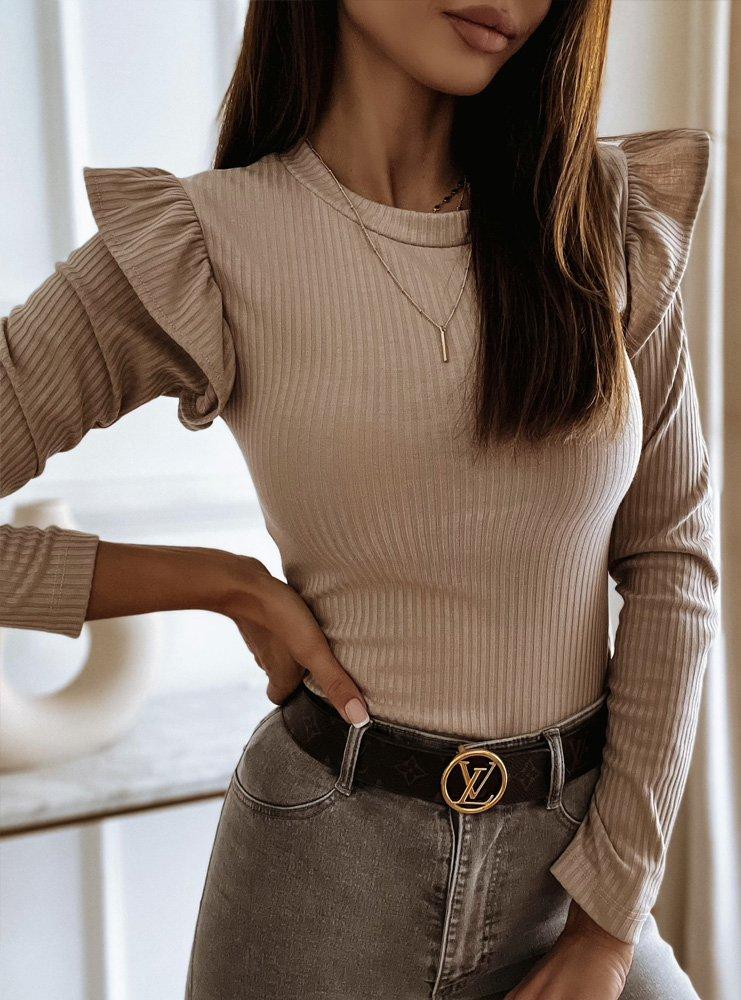 Beżowa prążkowana bluzka Ileana