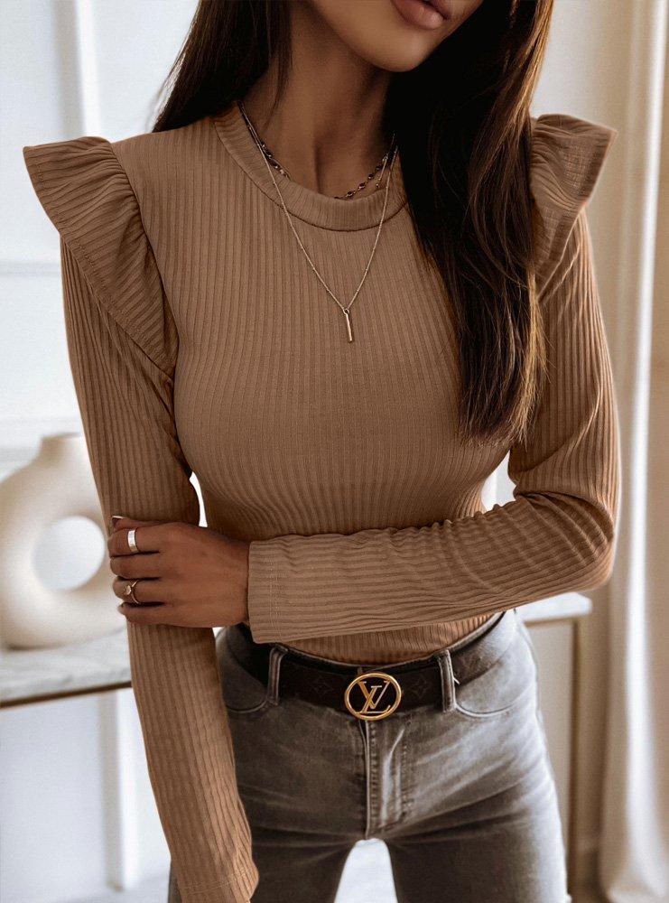 Prążkowana bluzka Ileana - odcienie brązu