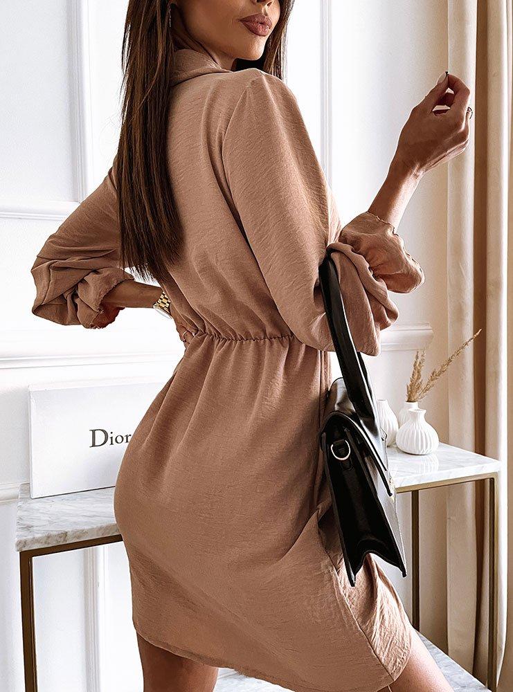Karmelowa sukienka ze ściągaczem Raafela