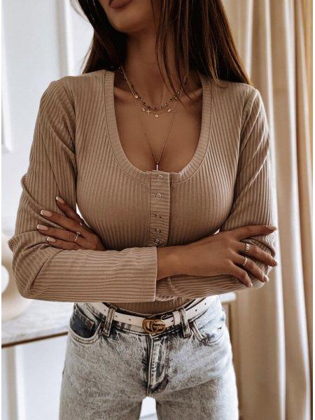 Beżowa bluzka prążkowana z...