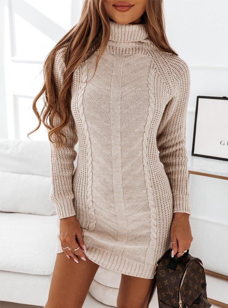 Beżowa sweterkowa sukienka z golfem Narlene