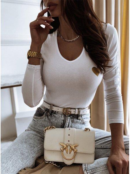 Biała bluzka ze złotym...
