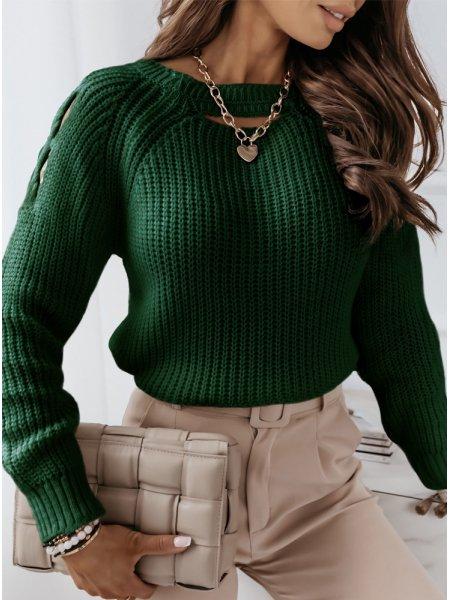 Sweter z wycięciami na...