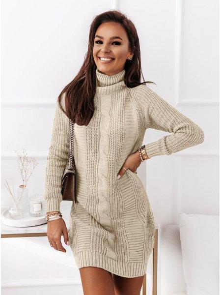 Beżowa sweterkowa sukienka...