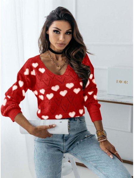 Malinowy wygodny sweter w...