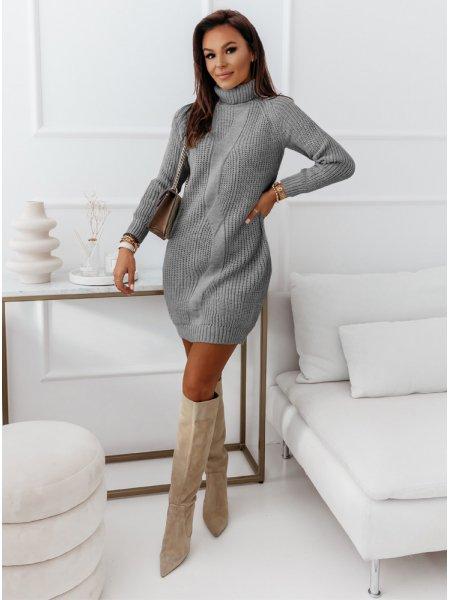 Szara sweterkowa sukienka z...