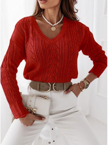 Malinowy ażurkowy sweter Layal