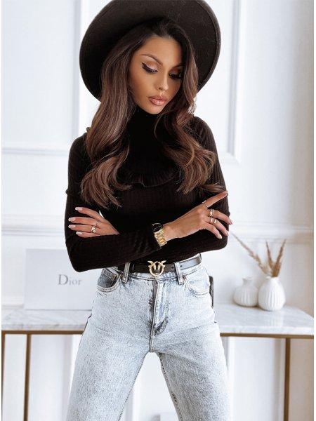 Czarny sweterek z ozdobnym...