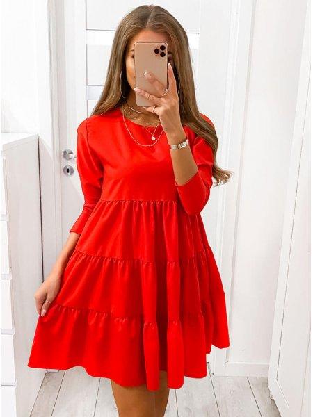 Malinowa trapezowa sukienka...