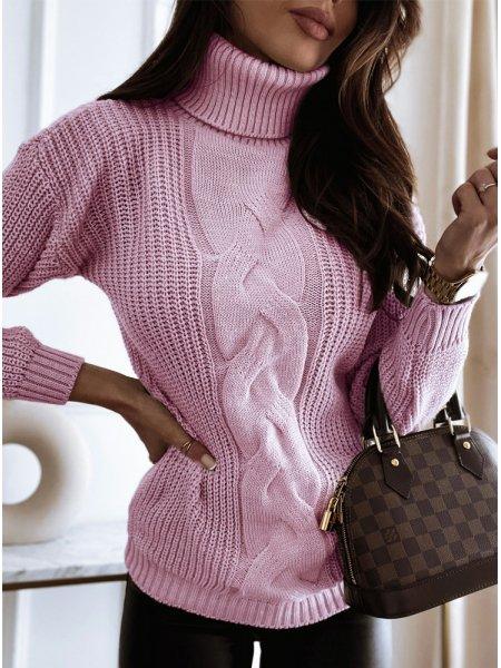 Pudrowy sweter z ozdobnym...