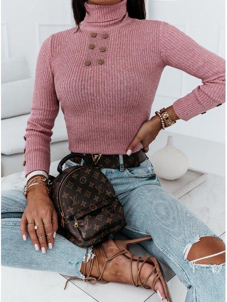 Pudrowy prążkowany sweterek...