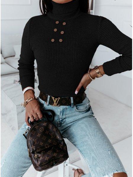 Czarny prążkowany sweterek...