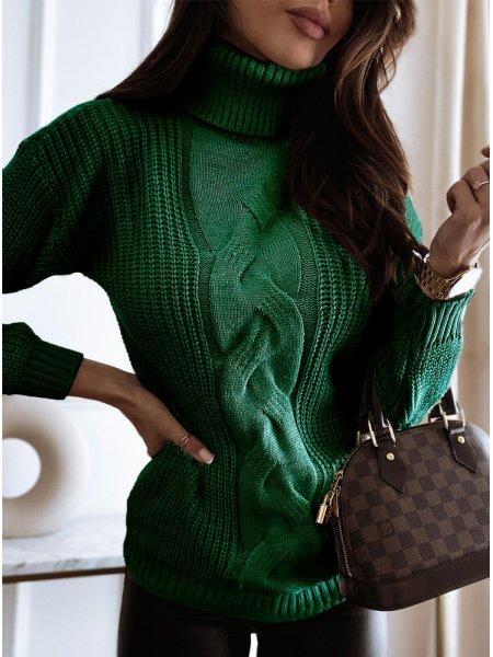 Sweter z ozdobnym splotem i...