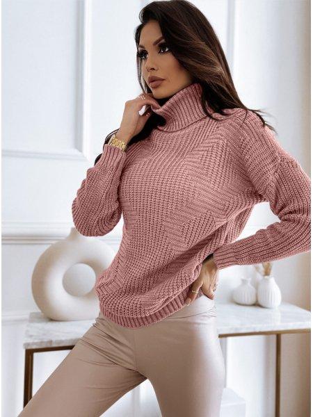Pudrowy sweter z golfem i...