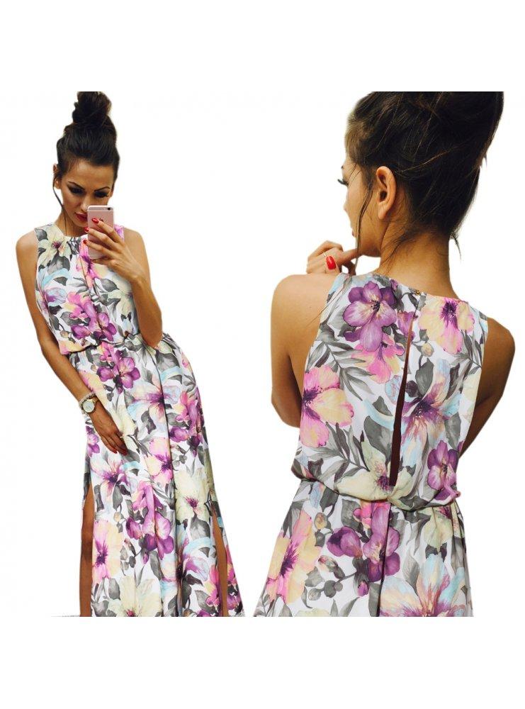 02955dbdbd Długa sukienka w kwiaty ella - cena
