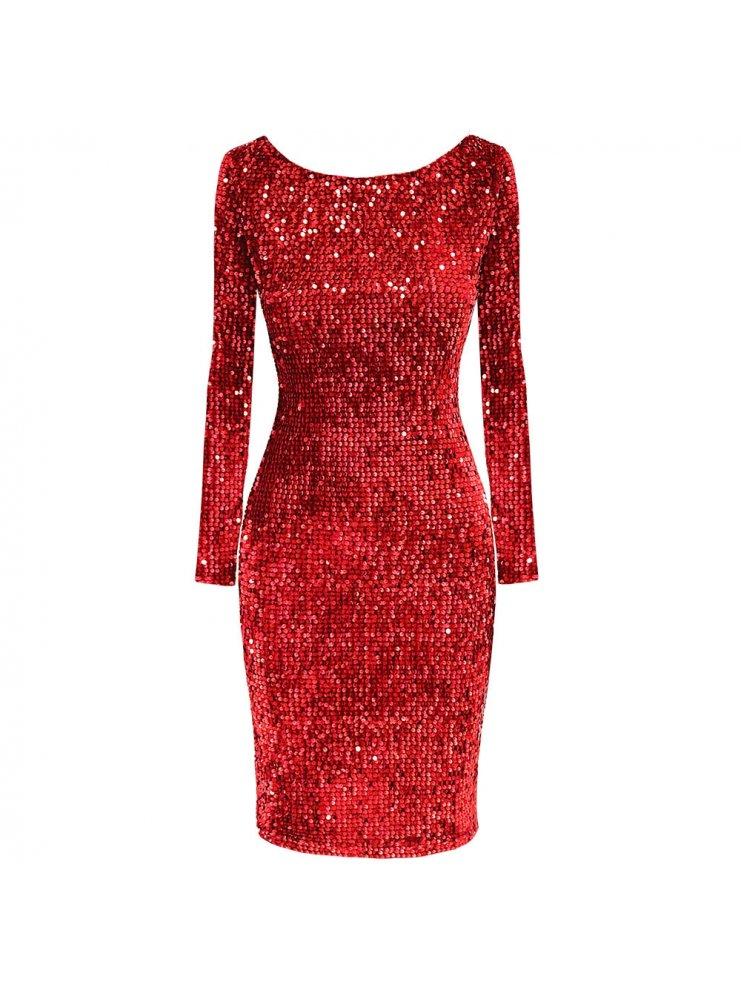 3a4d508f Czerwona cekinowa sukienka sonya - cena, opinie   sklep internetowy ...