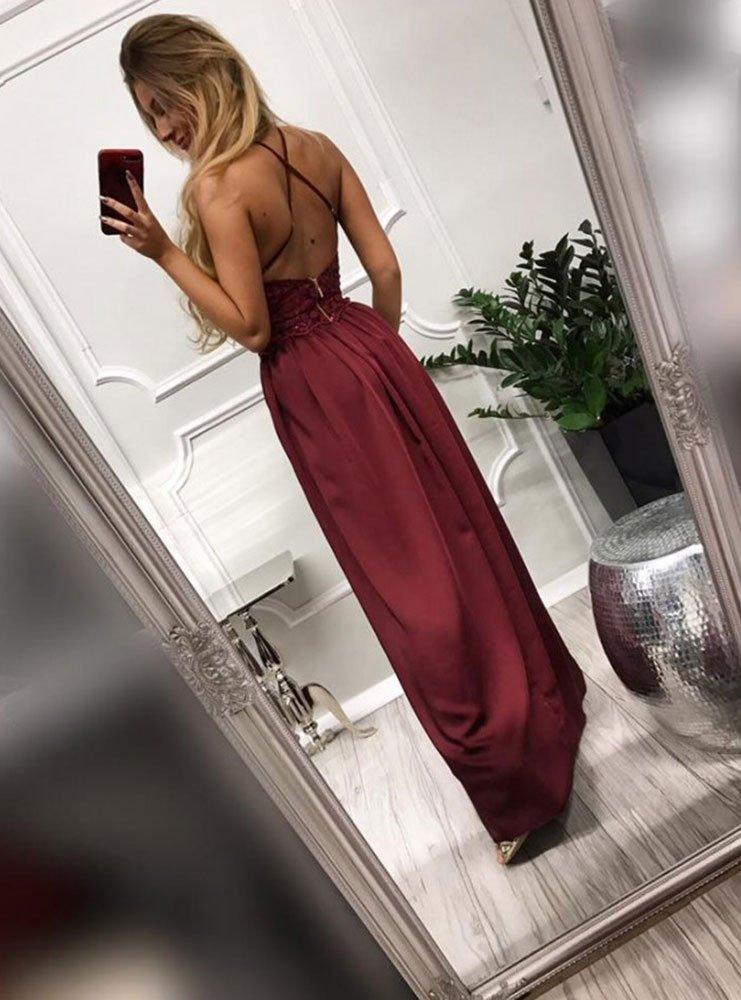 Bordowa długa sukienka na ramiączkach vivienn cena, opinie