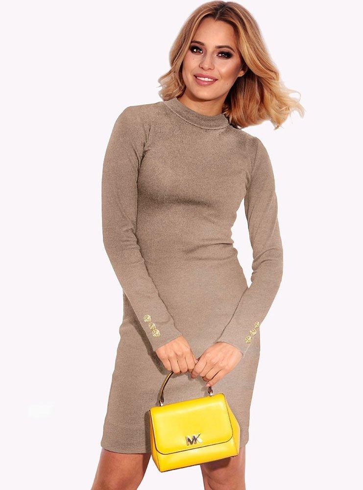 378c5fc704 Beżowa prążkowana sukienka catelyn - cena