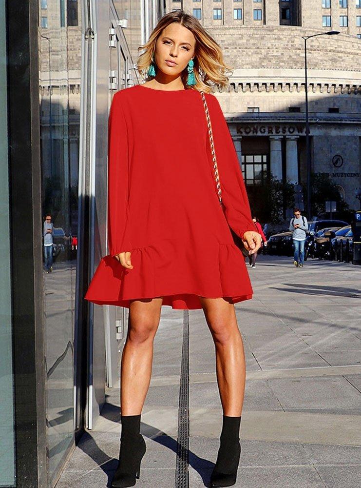 6c24bad7cf Trapezowa sukienka z falbaną miah - cena