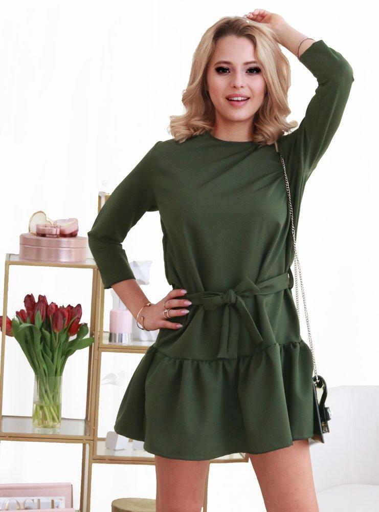 f429f133 Sukienka z paskiem i falbaną arlis - khaki - cena, opinie | sklep ...