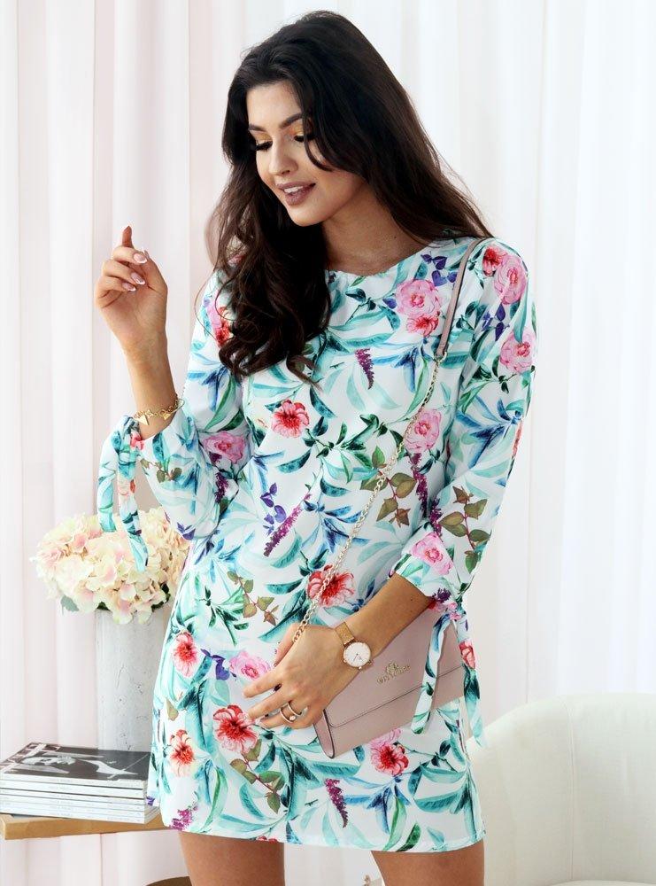 ad62f596382a97 Biała sukienka w kwiaty z wiązaniem mileni - cena, opinie | sklep ...