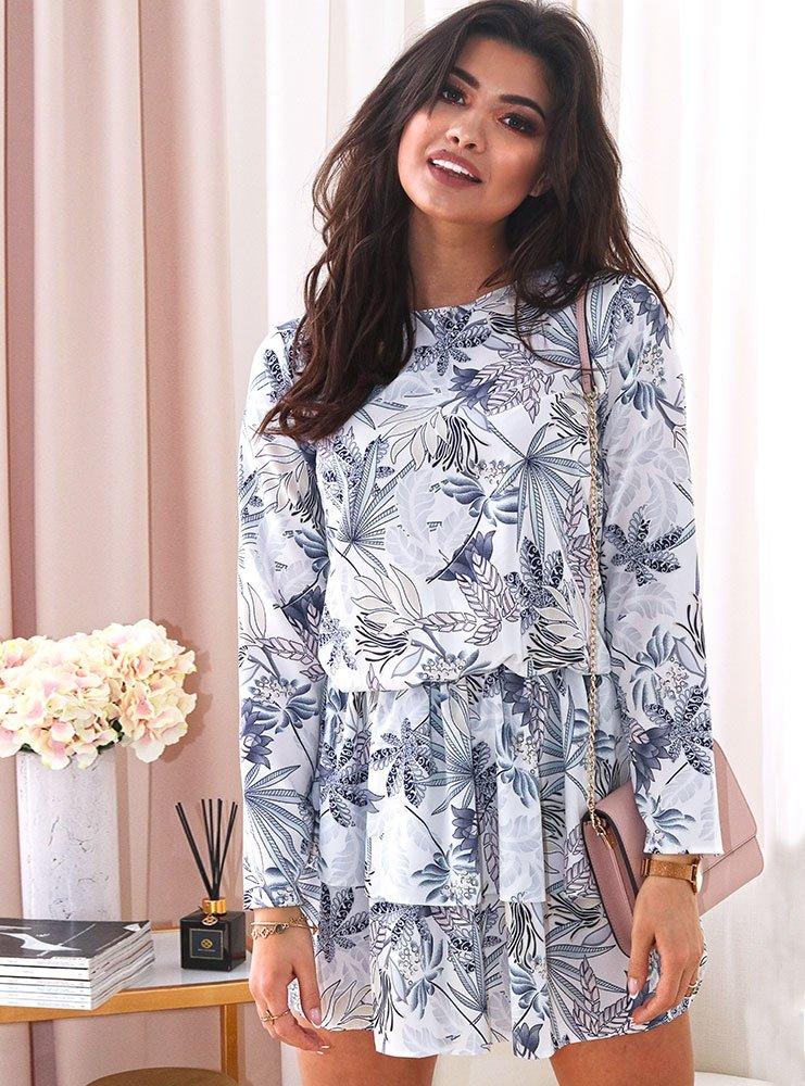 c18984bb42e585 Biała sukienka w niebieskie kwiaty avy - cena, opinie | sklep ...