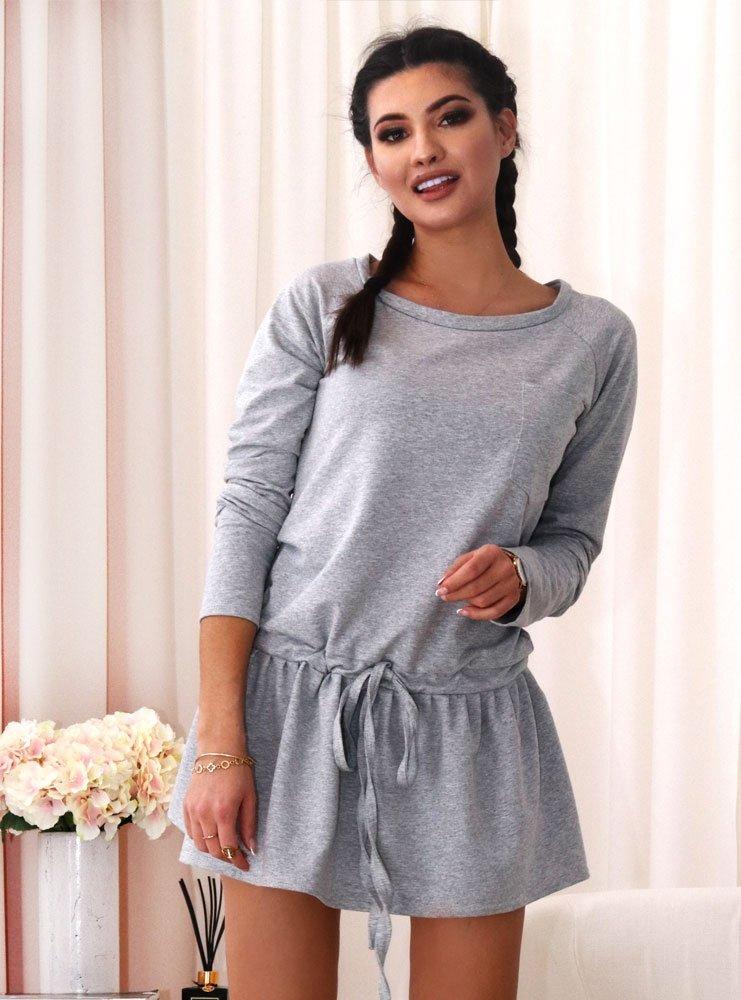 68e0450ac2 Sukienka dresowa z troczkiem tesha - szary melanż - cena