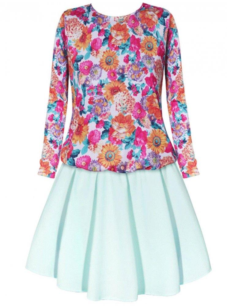 4b69ce141e Sp sukienka w kwiaty długi rękaw - cena