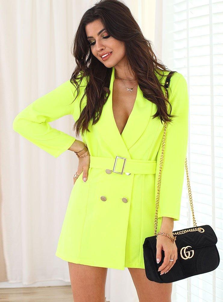 94596b46 Sukienko-marynarka z paskiem elisia - żółty neon - cena, opinie ...