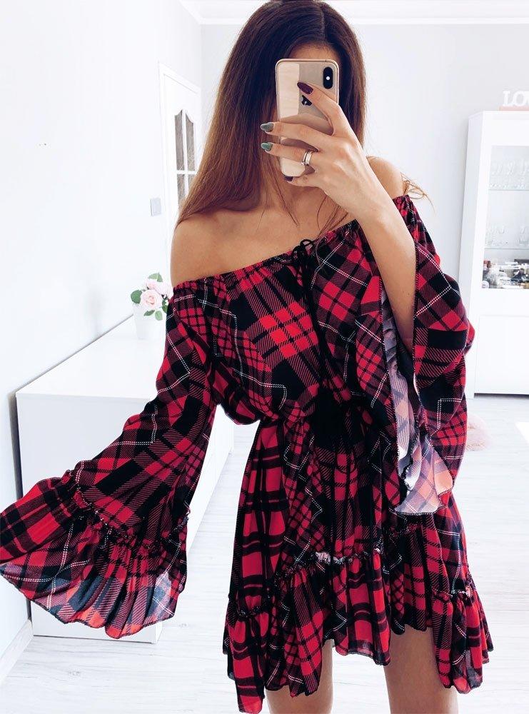 e559c356c0 Trapezowa sukienka w kratkę ze sznurkiem katie - cena
