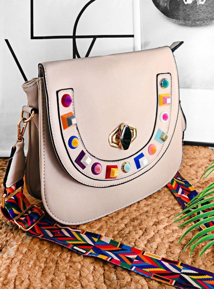 acf6e72f49564 Jasnobeżowa torebka z kolorowymi kamykami aliza - cena, opinie ...