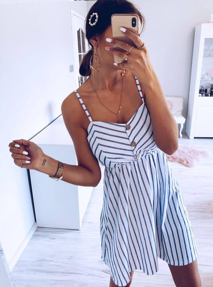 b409677188f8bd Sukienka w paski na ramiączkach emely - cena, opinie | sklep ...