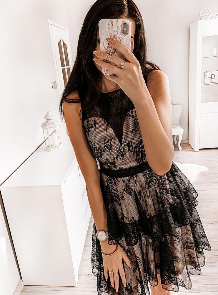 Elegancka sukienka z koronką galasso cena, opinie | sklep