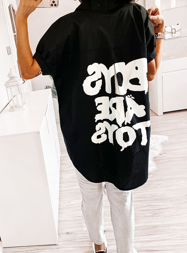 Czarna koszula z napisami na plecach kemina cena, opinie  gEQxf